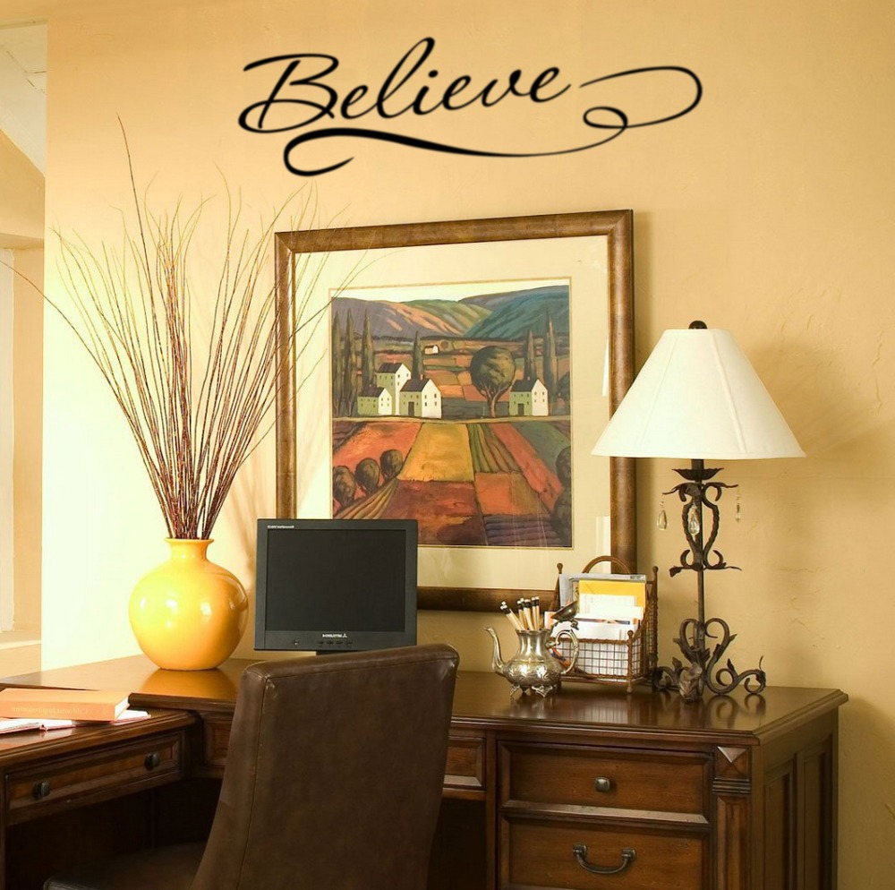 JJRUI Believe Quote Removable Vinyl Wall Art Quotes Decal Sticker ...