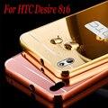 Роскошные Алюминиевого Сплава Металлической Рамой Зеркала Акриловый Пластик Задней Стороны обложки для HTC Desire 820/620/626/816/820/826 M8/M9 A9 E9 +