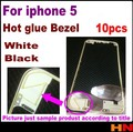 10pcs for i5 for iphone 5 Black White Front Bezel with liquid glue LCD Middle Frame Housing Parts Chrome Screen Holder