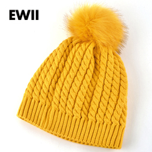 2016 female winter hat knitted hats for women beanie knitted cap interwoven pattern women beanies warm bonnet Nagymaros ballbone