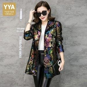 Image 2 - Ücretsiz kargo renkli çiçek baskı hakiki deri trençkot gerçek kuzu derisi deri palto moda uzun giyim artı boyutu