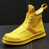 CuddlyIIPanda Men Fashion Ankle Boots Spring Autumn Leather Thick Bottom Men High Top Shoes Leisure Hip hop Boots Botas Hombre