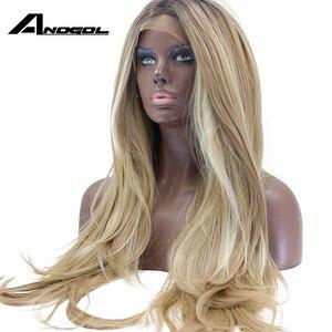 Image 4 - Anogol длинный коричневый Омбре блонд хайлайтер высокотемпературное волокно натуральные волны синтетический кружевной фронтальный парик для женщин Американский Африканский