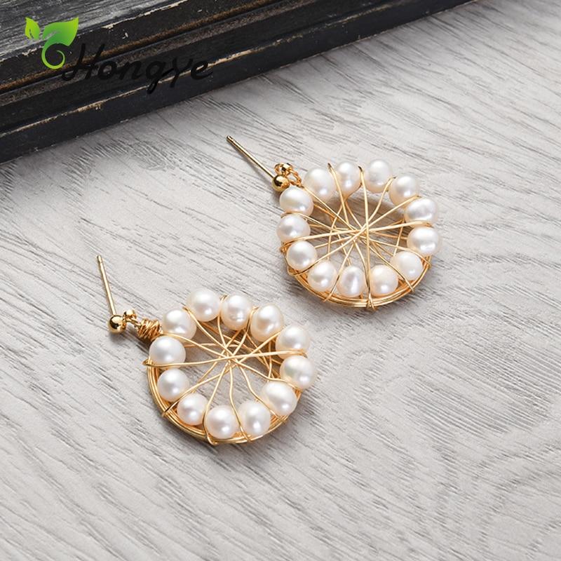 Hongye Girls Chic Drop Earrings Metal Knot Statement Ear Accessories Real Pearl Silver Jewelry Party Wedding Dangling for Women in Earrings from Jewelry Accessories