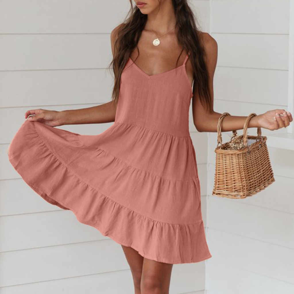 MUQGEW elegant dress women maxi casual dress pink Fashion Women's Summer Pleated Dress elegant Dress Sundress Mini Dress#Y3