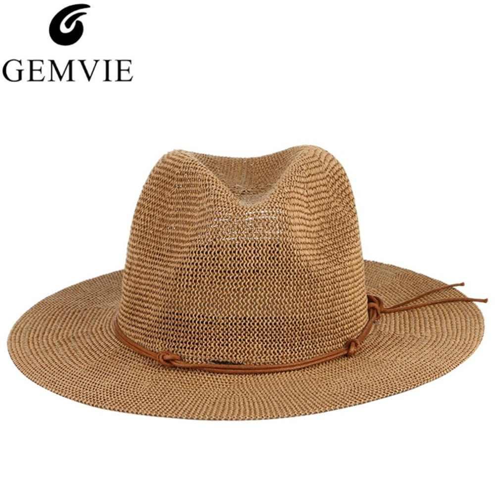 f19fe69f Breathable Hollow Out Big Large Brim Men Straw Hats Beach Sun Hat  Adjustable Jazz Fedora Cap