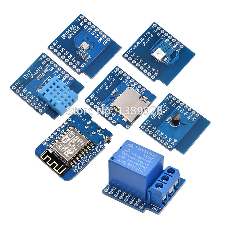 Hot sale 7 kinds WeMos D1 KIT WiFi board D1 Mini + DS18B20 + WS2812 + micro TF card + 1 channel relay + BMP180 + D1 DHT11 d1 007 pcb receiver for d1 mini drone
