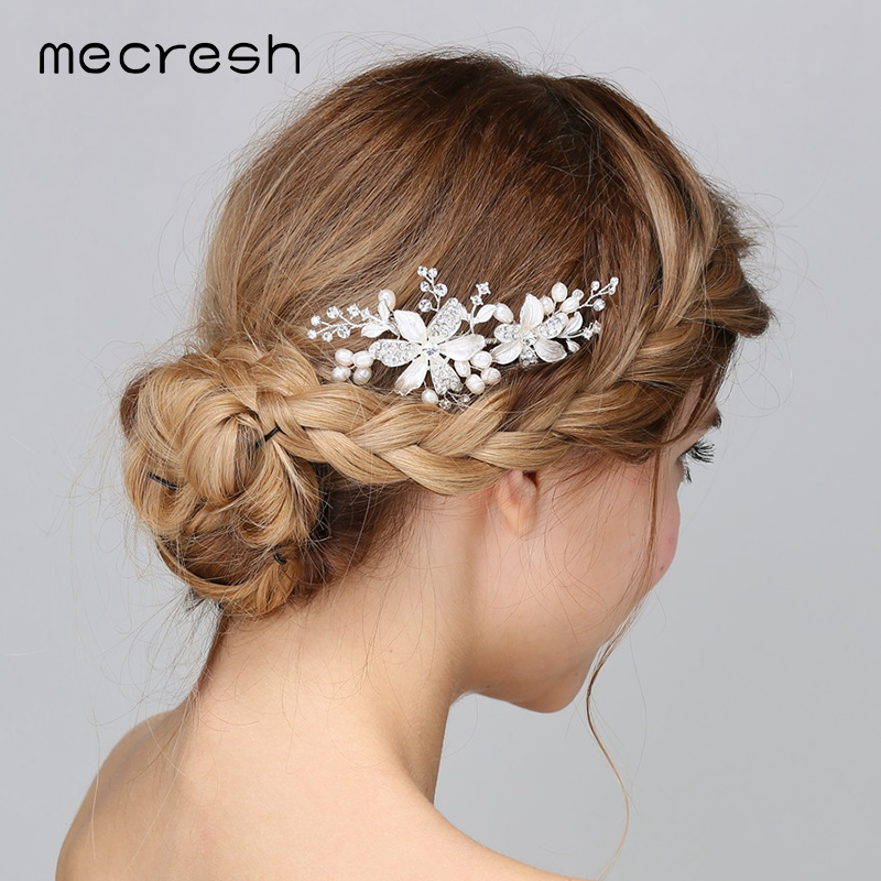 Mecresh European Flowers Simulated Pearl Wedding Hair Accessories Silver Color Crystal Bridal Hair Combs Party Jewelry MFS162