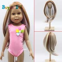 DIY Khaki White Color Natural Hair Wig Hairpiece for 1/3 1/4 1/6 BJD SD LUTS Dolls Making Accessories For 18 inch doll