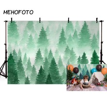 MEHOFOTO Watercolor Christmas Tree Backdrop Photography Green Forest Background Baby Portrait Photobooth Newborn Photo Props