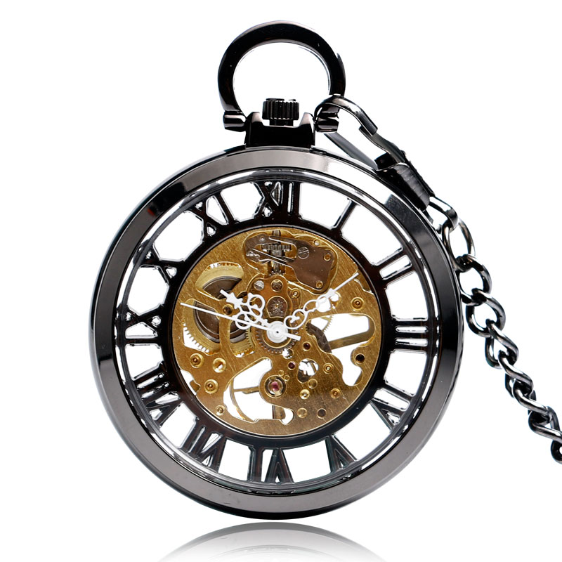 Cool Black Hollow One Case Design Roman Number Skeleton Dial Hand-wind Mechanical Pocket Watch Steampunk Fob Watches With Chain