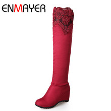 ENMAYER Long Boots Shoes Woman High Heels Over-the-knee Boots Plus Size 34-43 Winter Boots Slip-on Round Toe Rome Shoes Womens enmayer hot quality winter womens boots genuine leather high boots new flats heels shoes women boots big size 34 43 knight boots