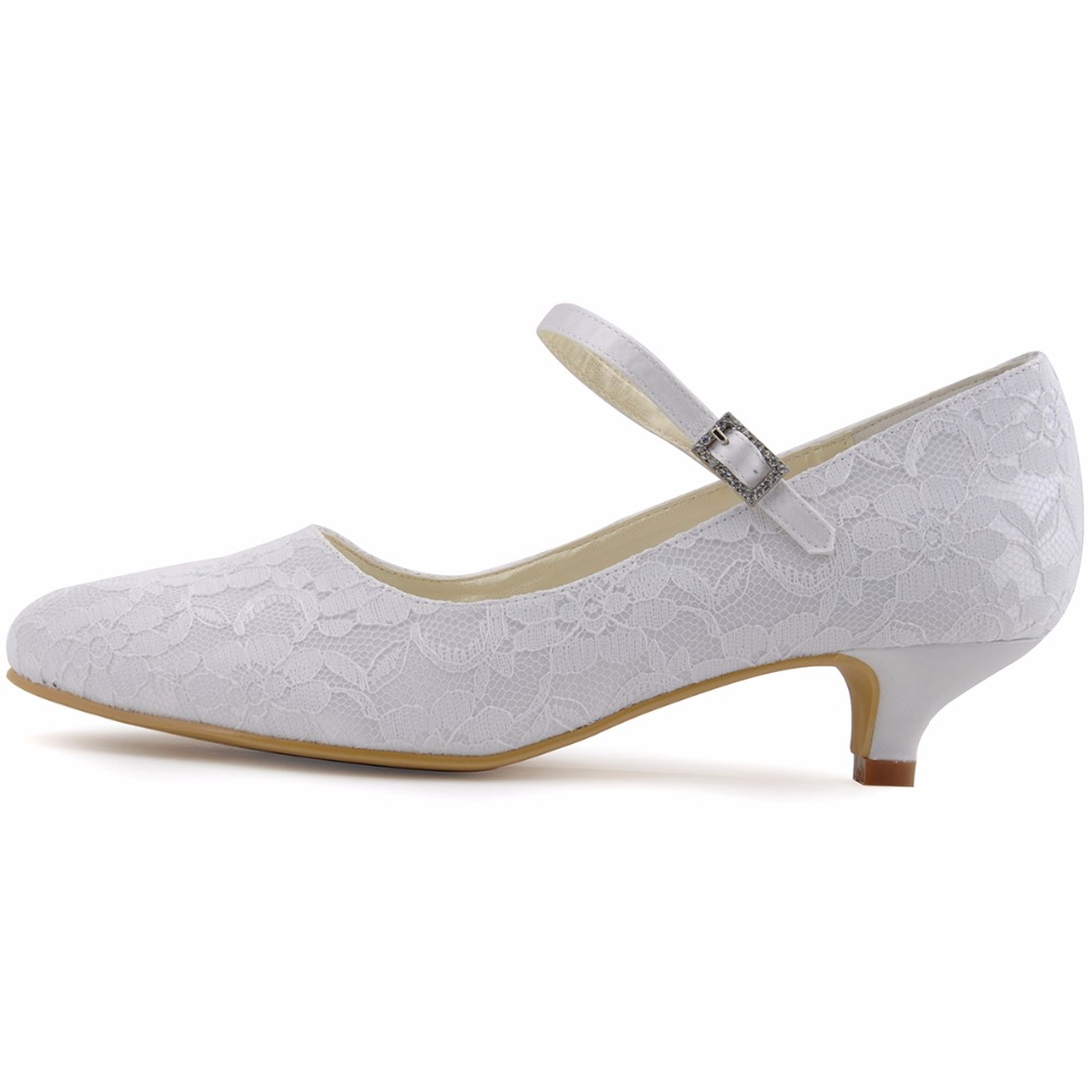 Shoes Woman White Ivory Mary jane Bridal Evening Party Pumps Closed Toe Low  Heels Satin DS 100120 Purple Blue Lace Wedding Shoes-in Women s Pumps from  Shoes ... 9c1842cb0062