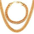 U7 Chain Necklace Stainless Steel Yellow Gold/Black Gun Plated Wholesale Men Bracelet Necklace Set Punk Rock Men Jewelry S186