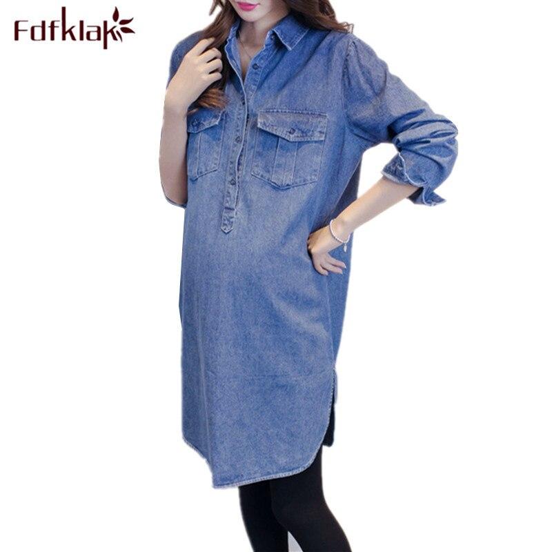 Fdfklak New Casual Pregnancy Clothes Pregnant Women Shirt Long sleeve Denim Shirts Women's Maternity Clothes Maternity Tops