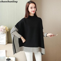 Korean New 2018 Autumn And Winter Women S High Collar Pullovers Lady Striped Sweater Loose Waist