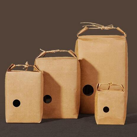 20PCS raft paper bag/ stand paper gift bags/food paper bags/Cookies Walnut dry fruit stand box with handle