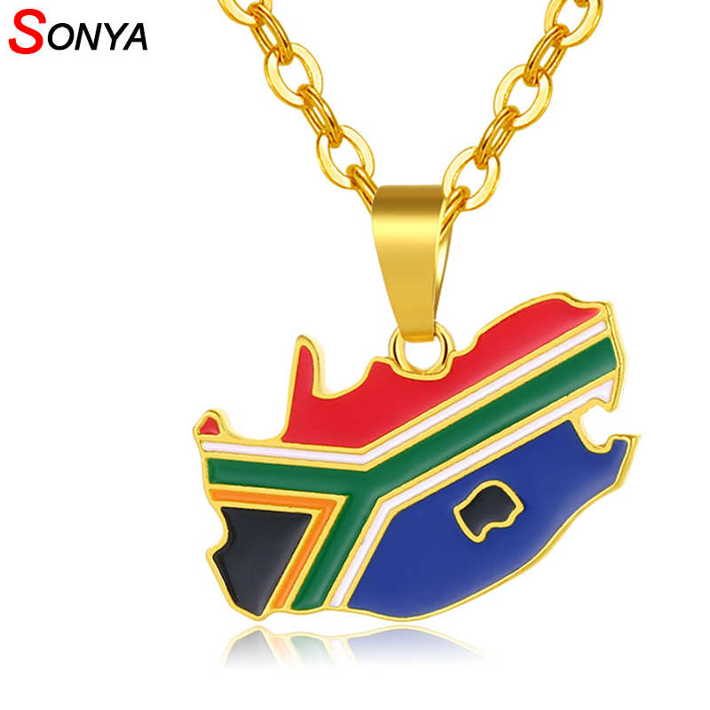 SONYA South Africa Map/Flag Pendant Necklaces For Women/Men ...