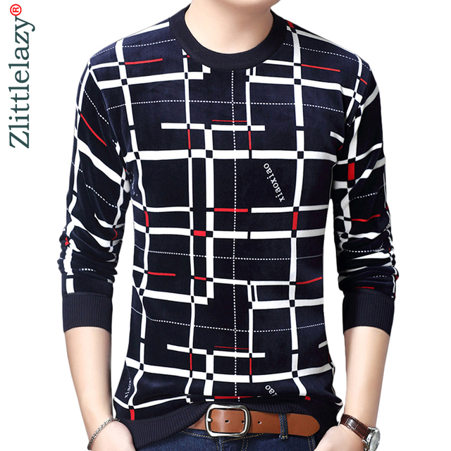 2018 new designer pullover plaid men sweater dress thick winter warm jersey knitted sweaters mens wear slim fit knitwear 53012