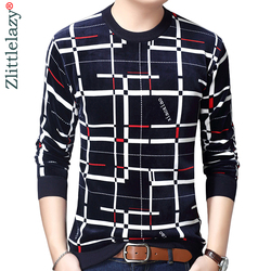 Neue Designer Pullover Plaid Männer Pullover Kleid Dicken Winter Warme Jersey Gestrickte Pullover Mens Wear Slim Fit Strickwaren 53012