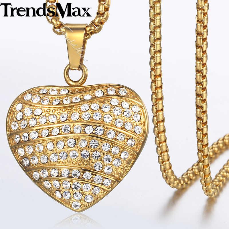 Męska Hip Hop Iced Out pełne dżetów CZ serce naszyjnik ze stali nierdzewnej wisiorek naszyjnik Dropshipping biżuteria 2018 KKN591