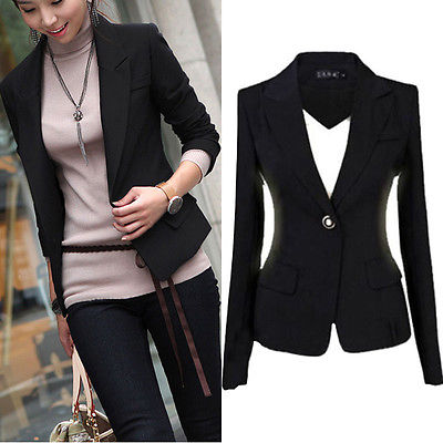 2018 Spring Autumn Womens Coat Slim Office Ladies Blazer Leisure New One Button Jacket Suit