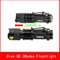 High Powerful Zoom Waterproof Black Led Flashlight Mini Cree Q5 Led 2000LM Tactical Light Adjustable Focus Lantern Portable