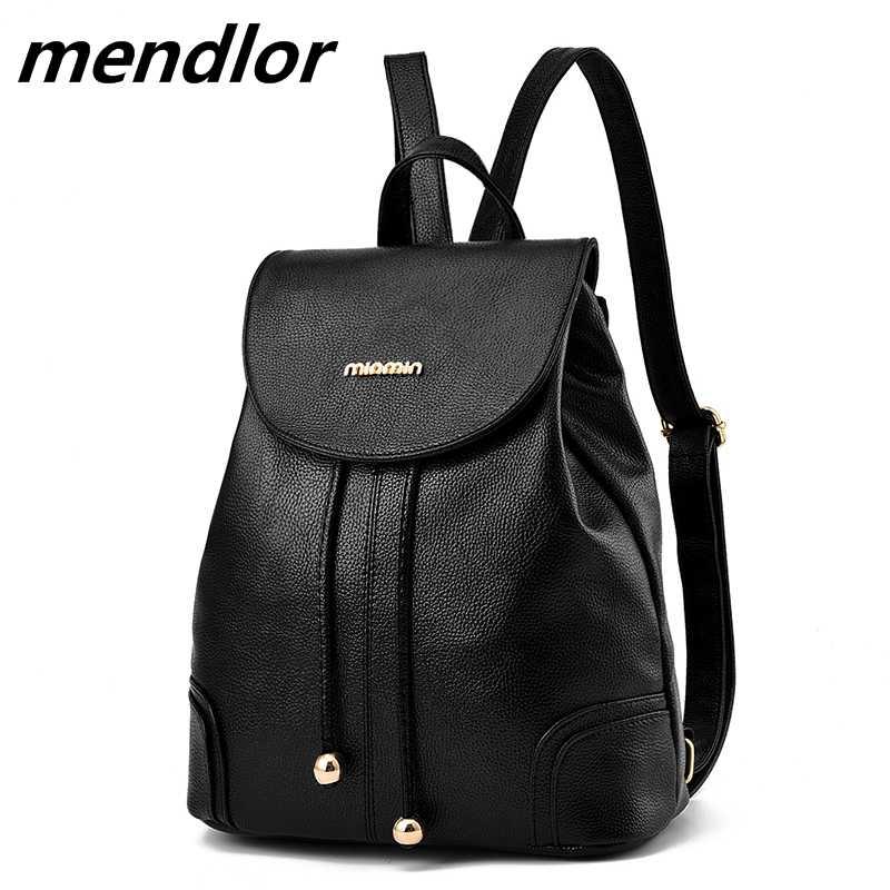 d3d4b28fca5c 2018 абсолютно новый рюкзак женские черные рюкзаки высокого качества  кожаные модные женские сумки через плечо для