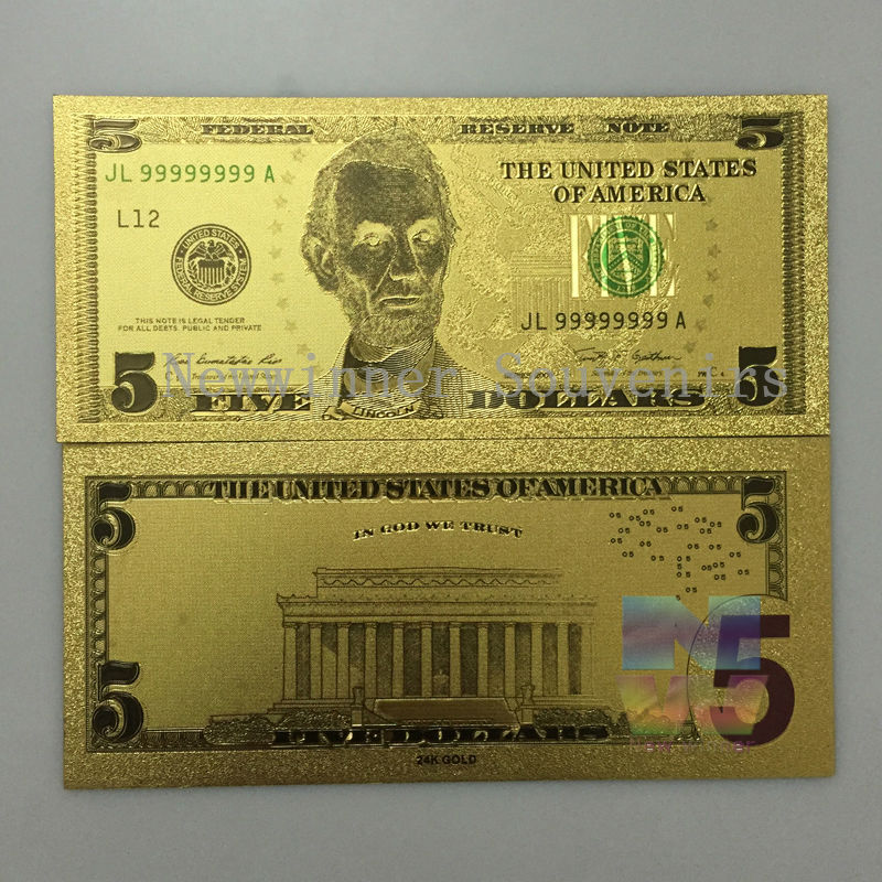 US $11 0 50% OFF 10 pcs/lot American 5 Dllar Banknote Dollars World Paper  Money Collections Gifts Free shipping-in Gold Banknotes from Home & Garden