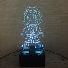 One Piece Action Figure Luffy 3D Led Table Night Light Colorful