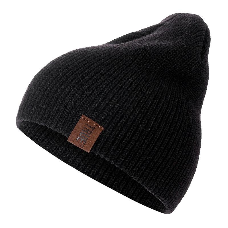 1 Pcs Hat PU Letter True Casual Beanies for Men Women Warm Knitted Winter Hat Fashion Solid Hip-hop Beanie Hat Unisex Cap 2