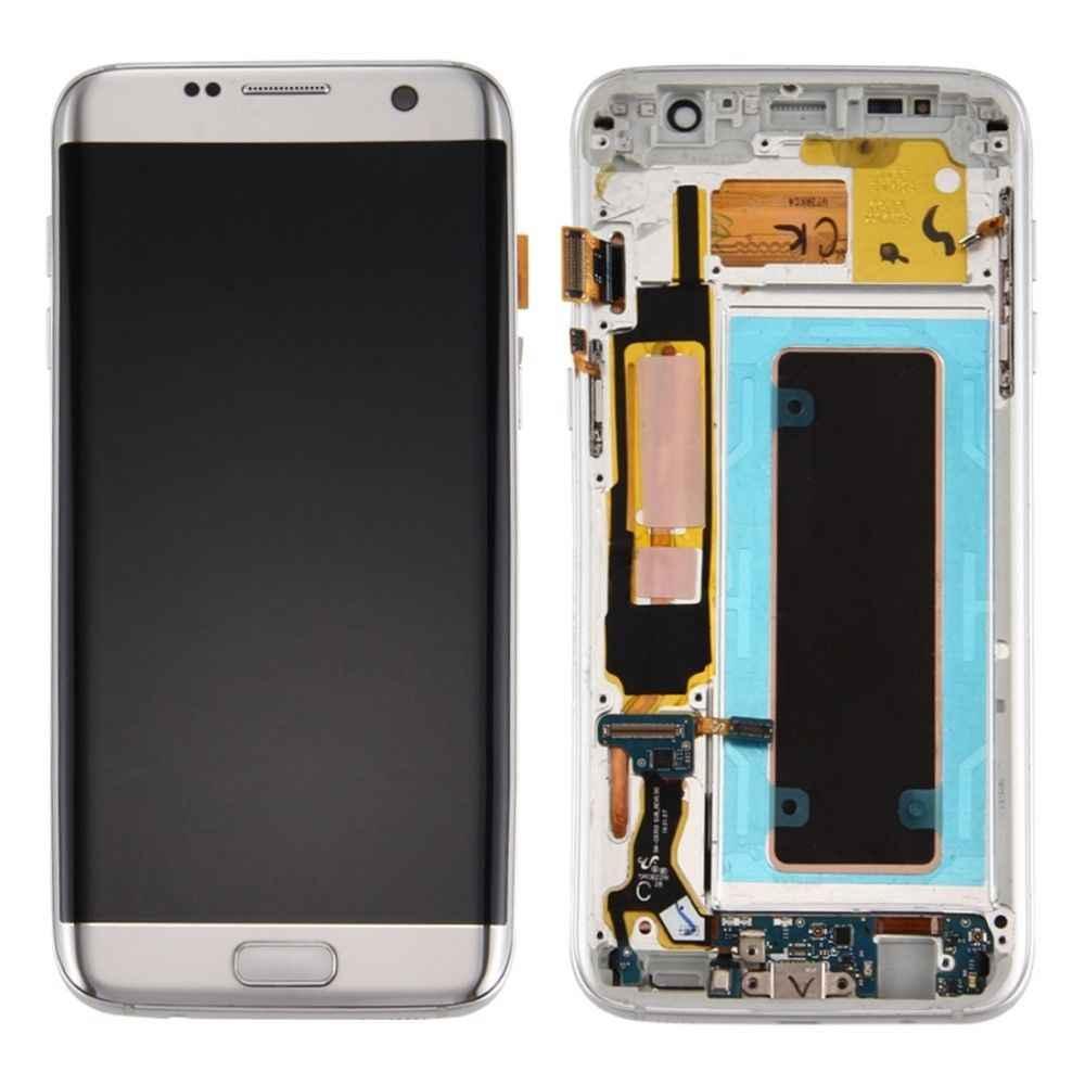 سوبر Amoled الأصلي شاشات LCD لسامسونج غالاكسي S7 حافة G935 G935F شاشة الكريستال السائل + شاشة تعمل باللمس مع الإطار غالاكسي S7 حافة LCD