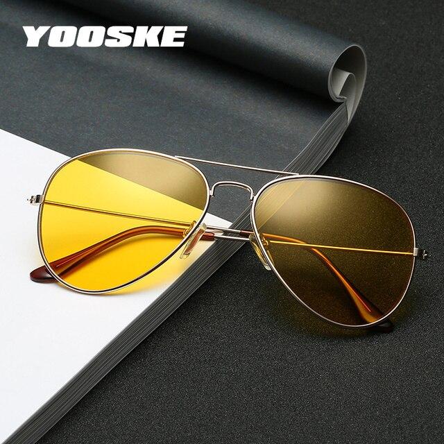 79f72bee25 YOOSKE Night Vision Sunglasses Men Women Classic Pilot Glasses UV400 Shade  Sunglass Brand Design Alloy Frame