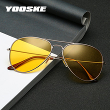 YOOSKE Night Vision Sunglasses Men Women Classic Pilot Glass