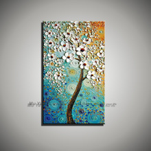 large landscape colorful red pink acrylic tree knife painting with flower hand painted oil painting modern abstract single blue
