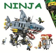 Bela Compatible Legoe giftse Ninjagoe Movie 70656 Garmadon Shark Mech 929Pcs Строительные блоки Кирпичи 2018 Новые игрушки для детей
