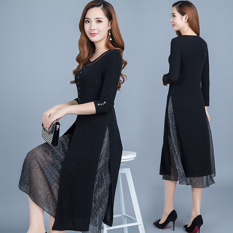 Middle Aged Female Spring Dress New 2019 Fake Two Piece