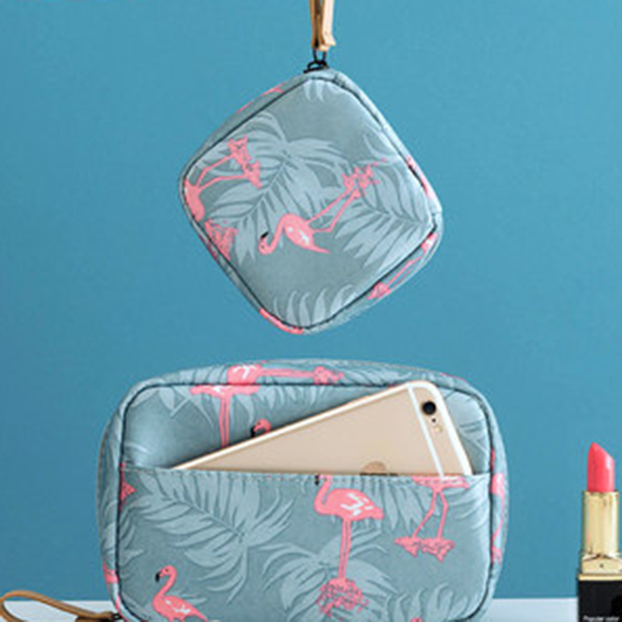 Vintage Floral Beautiful Small Cosmetic Bag For Make Up Makeup Cosmetic Bag Organizer Portable Porta Pennelli Trucco Zip 60A005