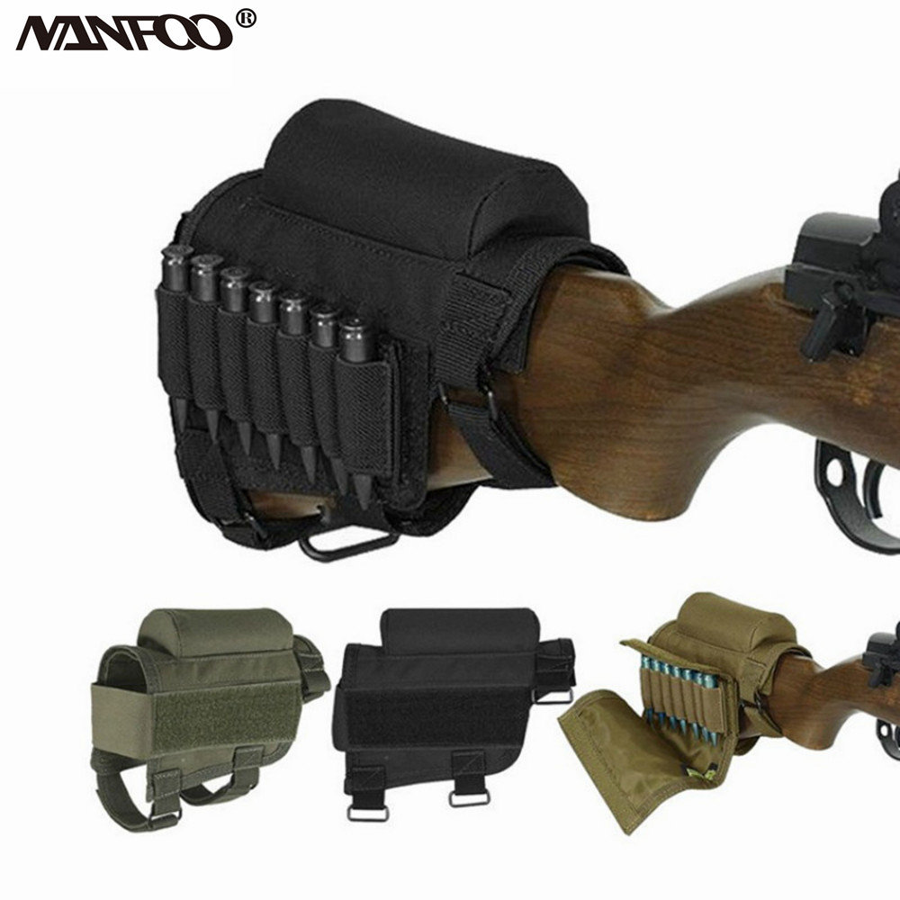 Tactical Military Rifle Stock Ammo Pouch Holder w// Cheek Leather Pad Typhon Camo