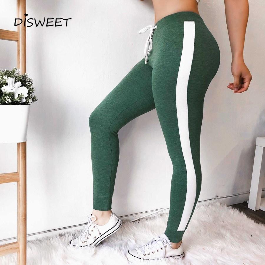 DICLOUD 2019 Summer Casual Pants Women Fashion Stitching Elastic Trousers Female High Waist Sexy Tight Pants Capris Clothes