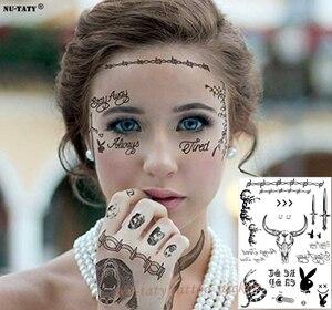 Image 1 - Nu TATY yeni sıcak Post Malone yüz dövme etiket cadılar bayramı yüz etiket su geçirmez dövme etiket aracı