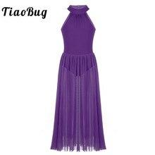 TiaoBug Kızlar Gençler Kolsuz Bale Leotard Maxi Elbise Bodysuit Örgü Etek Sahne Çağdaş Lirik Dans Kostümleri Balerin