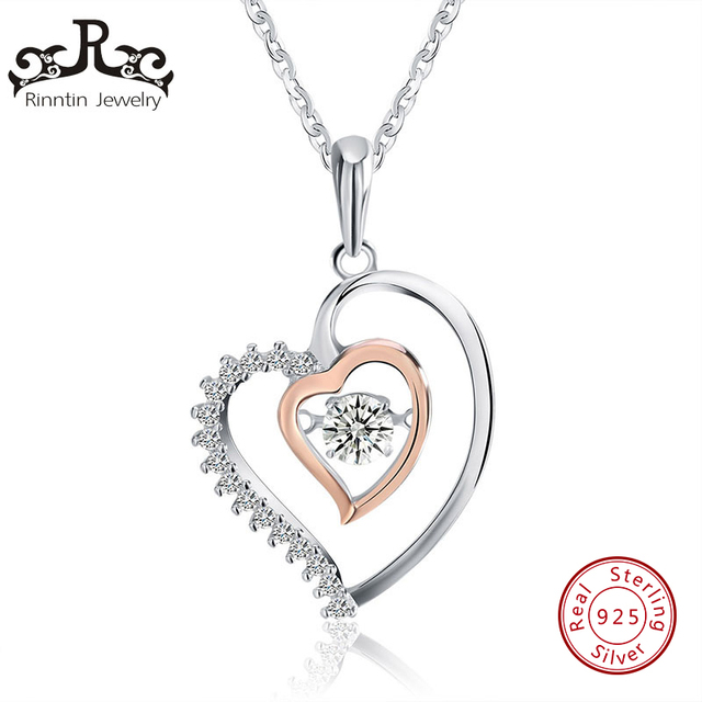 Rinntin Real 925 Sterling Silver Jewelry Double Heart Shape Pendant Necklaces with Tiny Cubic Zircon Romantic Lover's Gift TSN15