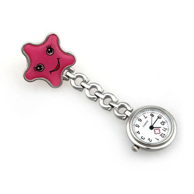 Timezone#301 Women Lady starfish Heart Quartz Clip-on Fob Brooch Nurse Pocket Wa