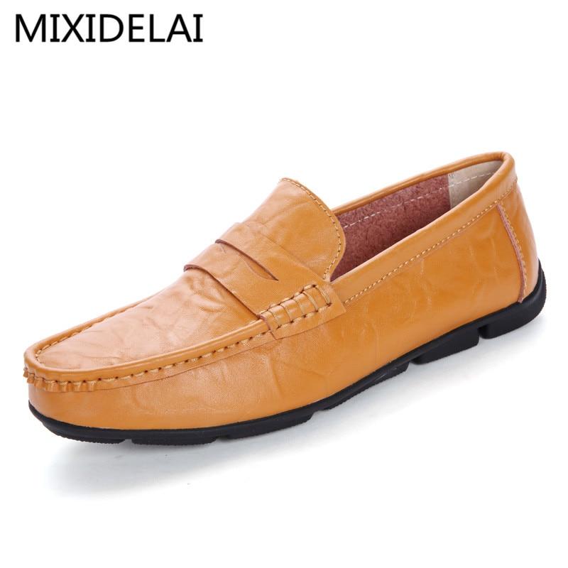 MIXIDELAI Brand 2017 High Quality Brand Genuine Leather Men Flats, Men Driving Shoes Men Loafers, Lace Up Men Moccasin цены онлайн