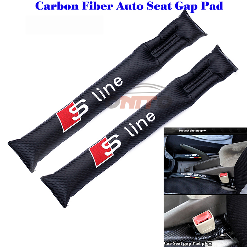 2pcs Carbon fiber Seat crevice Leak-proof plug Stick filling sline logo for A8 Q1 Q3 Q5 Q7 TT R8 S RS A1 A2 A3 A4 A5 A6 A7