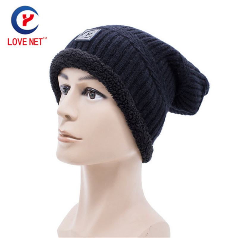 2017 New arrival Knit Women Winter skullies and beanies hemming grey black color winter Warm Wool Knitted Hats DS20170107 x7 skullies
