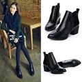 2016 Outono/Inverno Mulheres Botas New Apontou Toe Genuína Botas De Couro Mulheres Sapatos Da Moda Clássico Martin Botas Med Tornozelo Botas