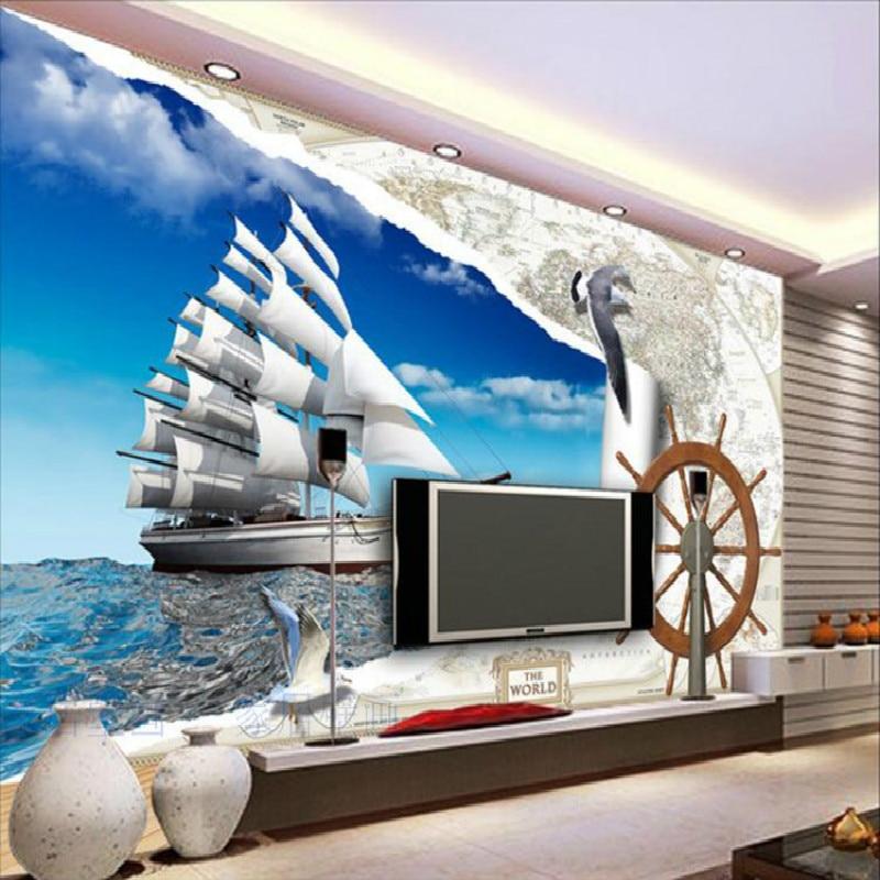 купить Custom European map 3d Roman column wheel sailboat seagull 3D wallpaper for living room TV background 3D wallpaper murals недорого
