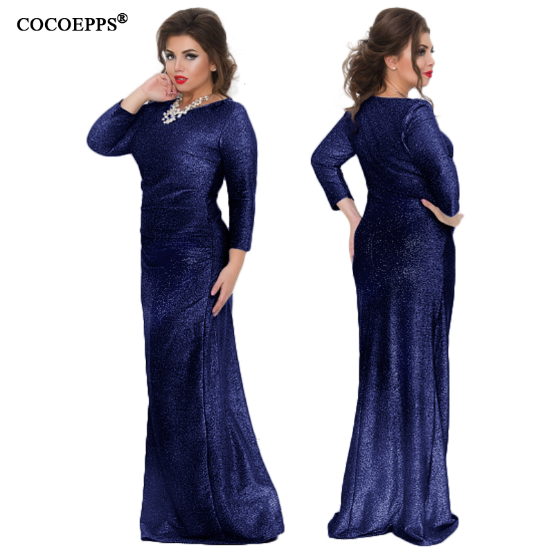 2018 5xl 6xl Big Size Maxi Long Dress Spring Hot Ladies Shiny Evening Party  Plus Size V neck Dress Women Large Size Robe Clothes-in Dresses from Women s  ... 4f3ceacb72ab